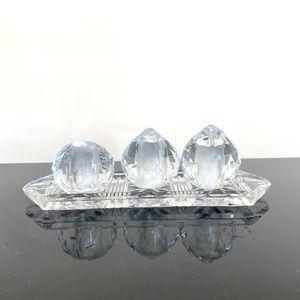 Crystal Salt Pepper shaker toothpick tray decor